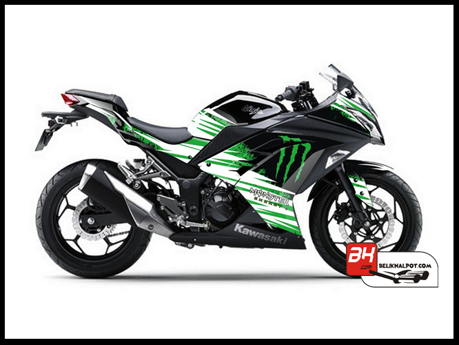 Jual Sticker Decal NINJA 250 Injeksi Hitam Green Monster Energy