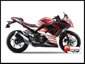 Jual Sticker Decal NINJA 250 Injeksi Hitam REd Monster Energy