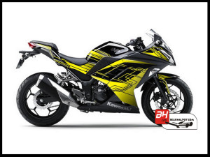 Jual Sticker Digital Printing Ninja 250 Fi Hitam yellow Line