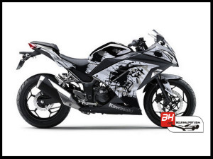 Jual Sticker Printing NINJA 250Fi Hitam Splash Ink Black