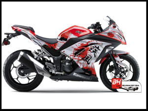Jual Sticker Printing NINJA 250Fi Merah Splash Ink Red