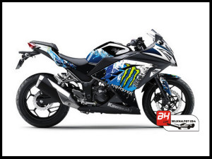 Sticker Decal Modifikasi Ninja 250 FI Hitam Monster Snow