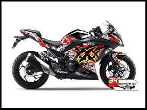 Sticker Decal Ninja 250 Injeksi Hitam Moto xXx Black Red
