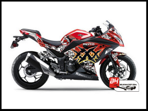 Sticker Decal Ninja 250 Injeksi Merah Moto xXx Black