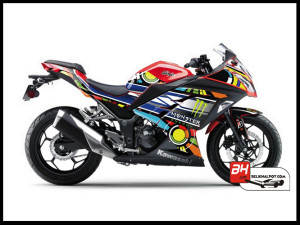 Sticker Modifikasi Ninja 250 FI Merah Rossi Monster Livery